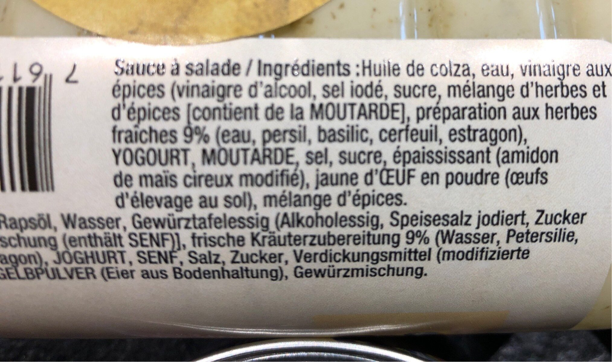 Sauce Grand-Mère aux herbes fraiches - Ingrediënten - fr