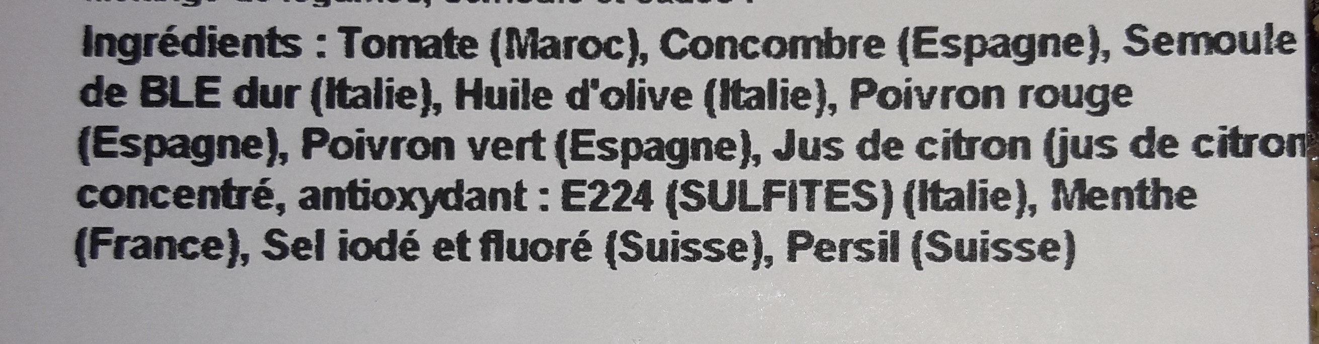 Taboulé n°207 - Ingrédients - en