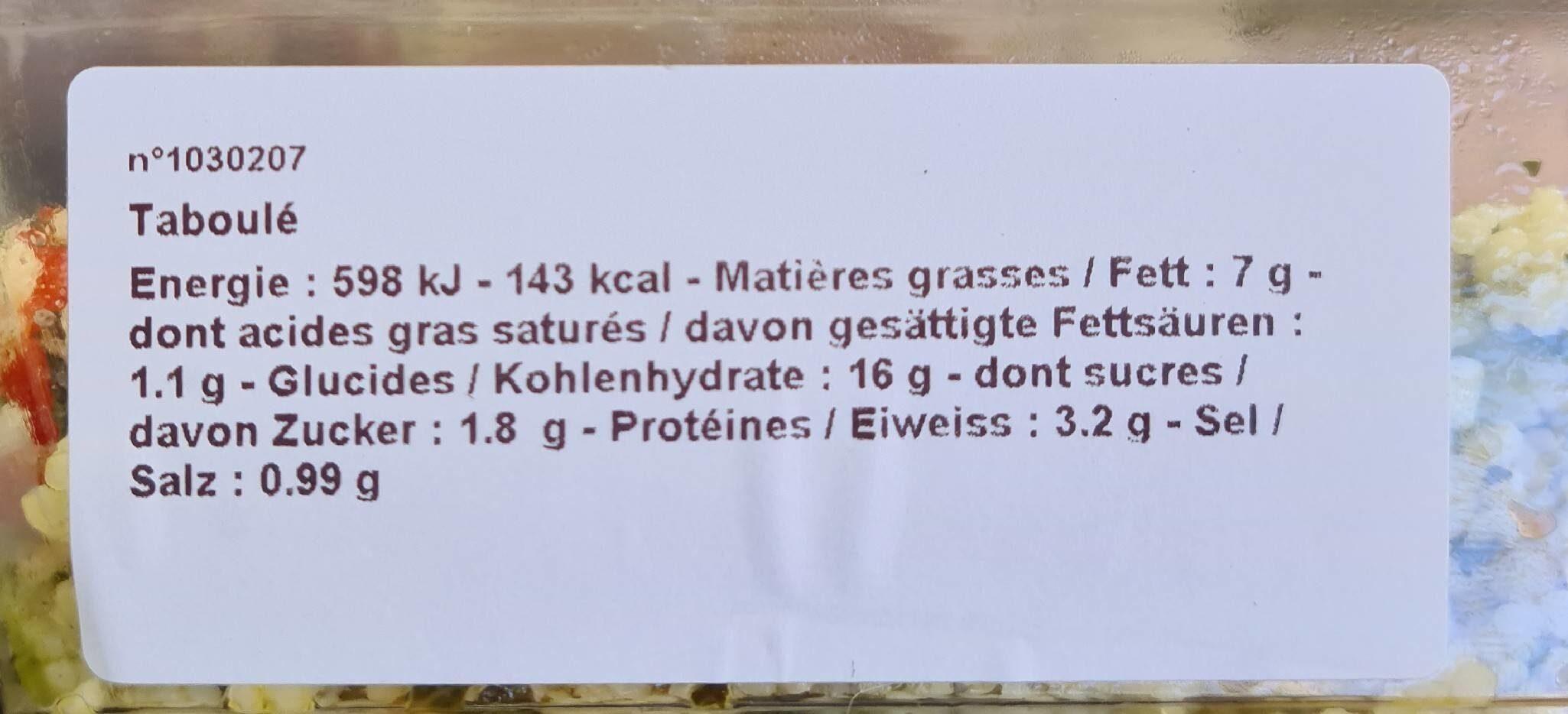 Taboulé n°207 - Informations nutritionnelles - en