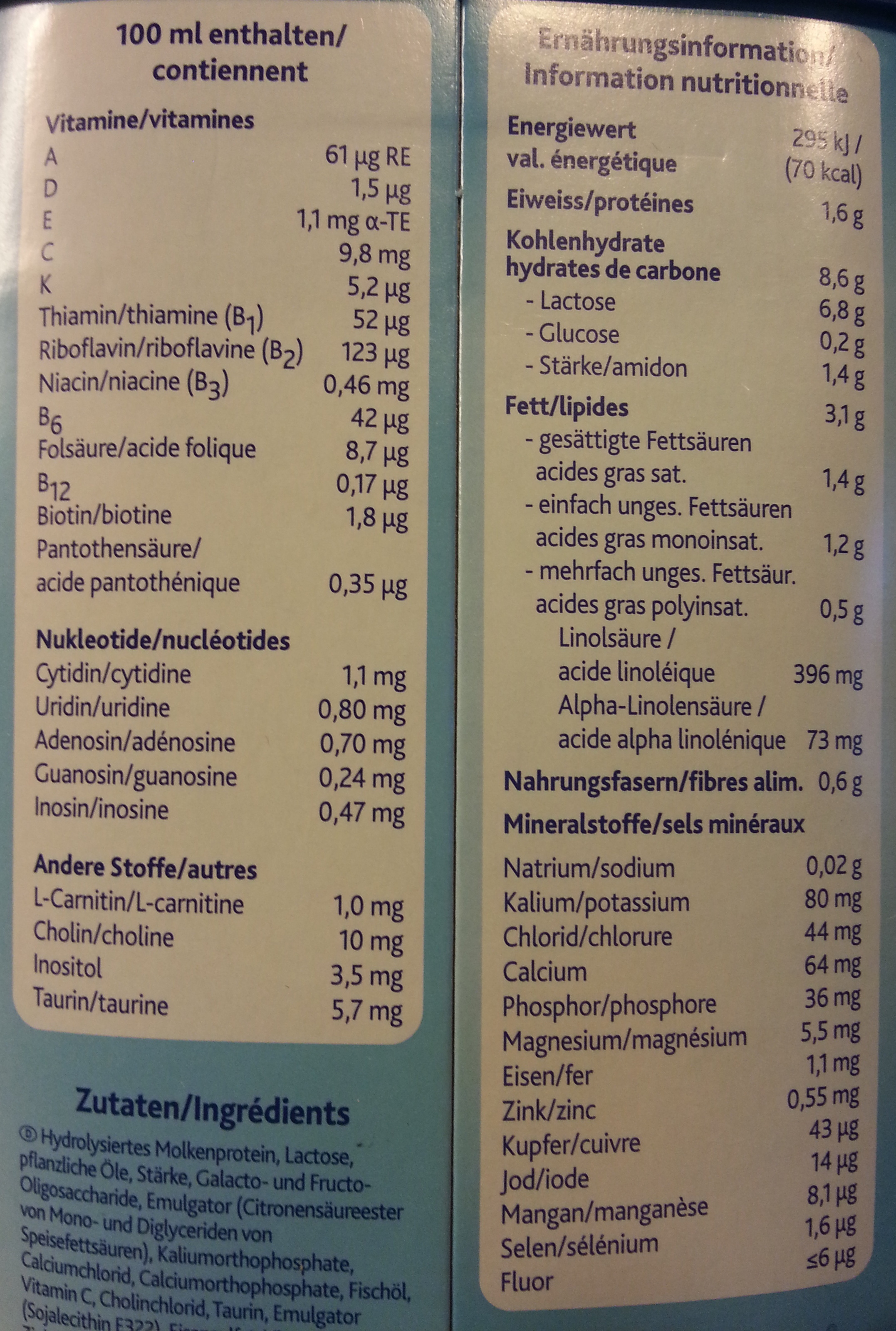 Milupa Aptamil HA 3 - Nutrition facts