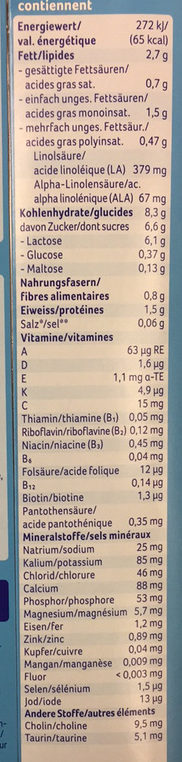 Aptamil junior - Informations nutritionnelles - fr