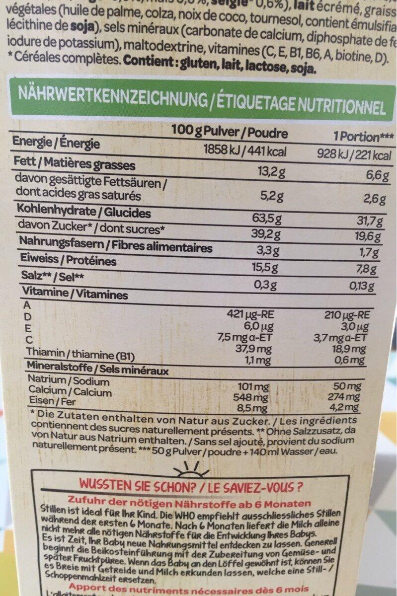 Bouillie multi-cereales - Nutrition facts - fr