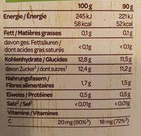 Cocktails de fruits - Nutrition facts - fr