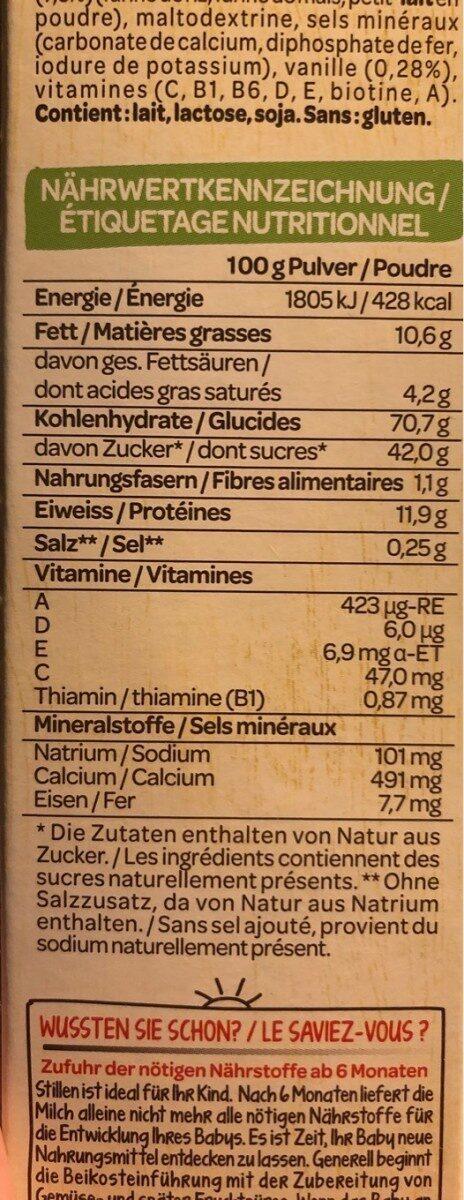 Bouillie pomme vanille - Nutrition facts - en