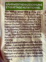 Milupa Baby Müesli - Nutrition facts - fr