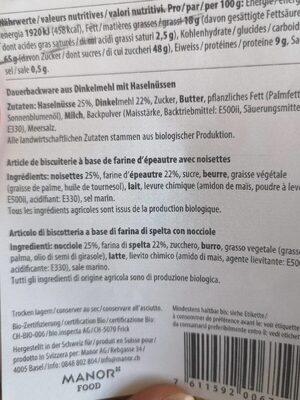 Biscuit a l épeautre - Nutrition facts
