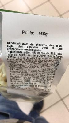 Tortillas Sandwich Chorizos-Salsa - Ingredienti - fr