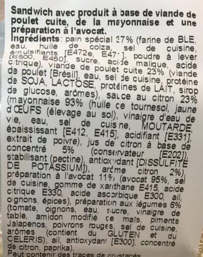 Tortillas Sandwich poulet-avocado - Ingredienti - fr