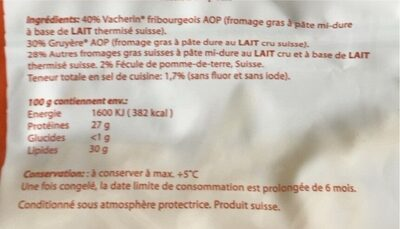 Fondue - Informations nutritionnelles - fr