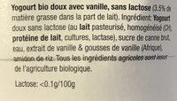 Yaourt Vanille Sans Lactose - Ingredients