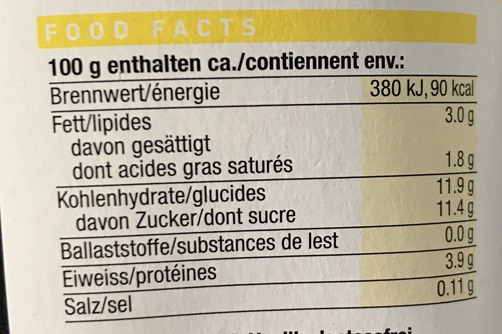 Yaourt Vanille Sans Lactose - Nutrition facts