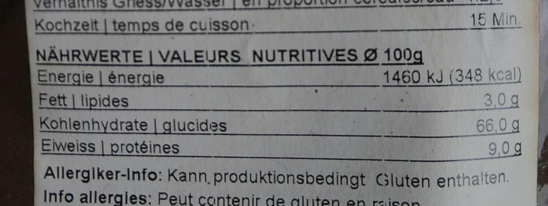 Semoule de maïs moyenne - Informations nutritionnelles - fr