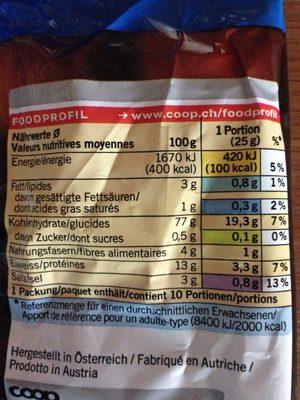 Bretzels Salés - Informations nutritionnelles - fr