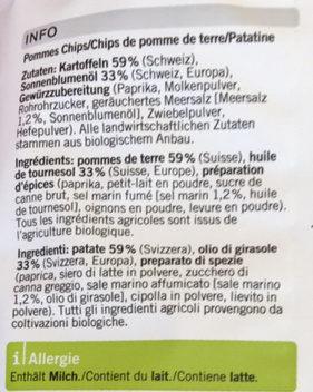 Chips paprika - Ingrediënten