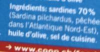 Sardines a l'huile d'olive sans l'eau et sans arêtes - Ingrédients