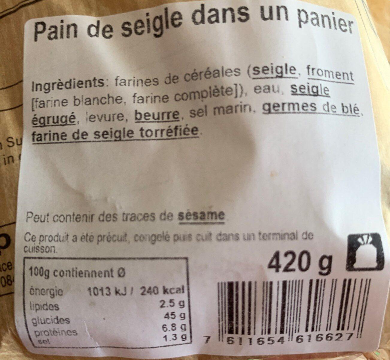 Pain de seigle - Nutrition facts
