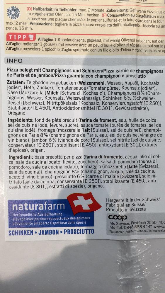 Pizza prosciutto & funghi - Ingredienti - fr