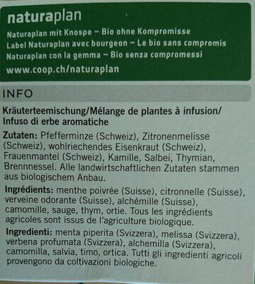 Infusion aux herbes des Alpes bio - Ingredients