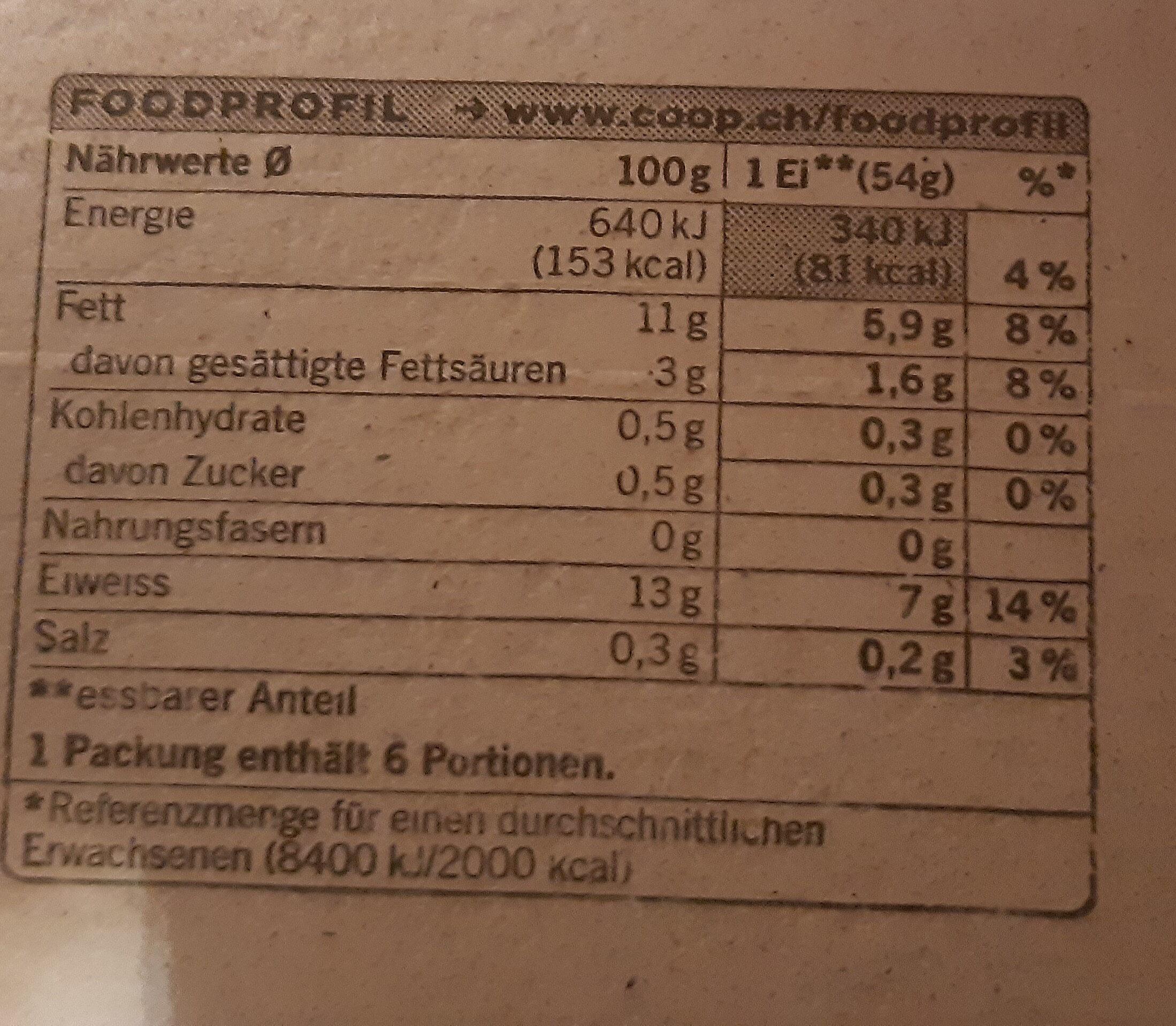 Züri Eier gross - Voedingswaarden - de