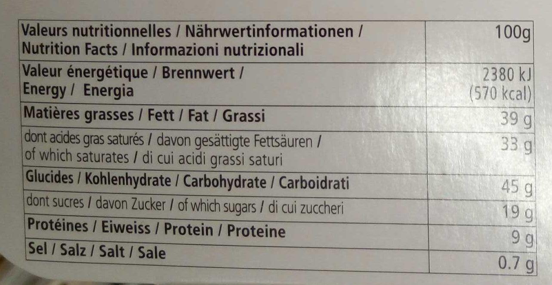 Les Dentelles Cheddar saveur noix - Informations nutritionnelles - fr