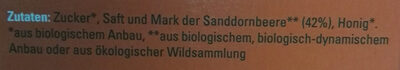 Sanddorn Vital - Fruchtsirup mit Mark - Ingredients - de