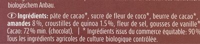 Chocolat noir bio - Ingrédients