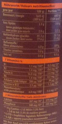 Chocolat suisse pure sensation - Informations nutritionnelles - fr