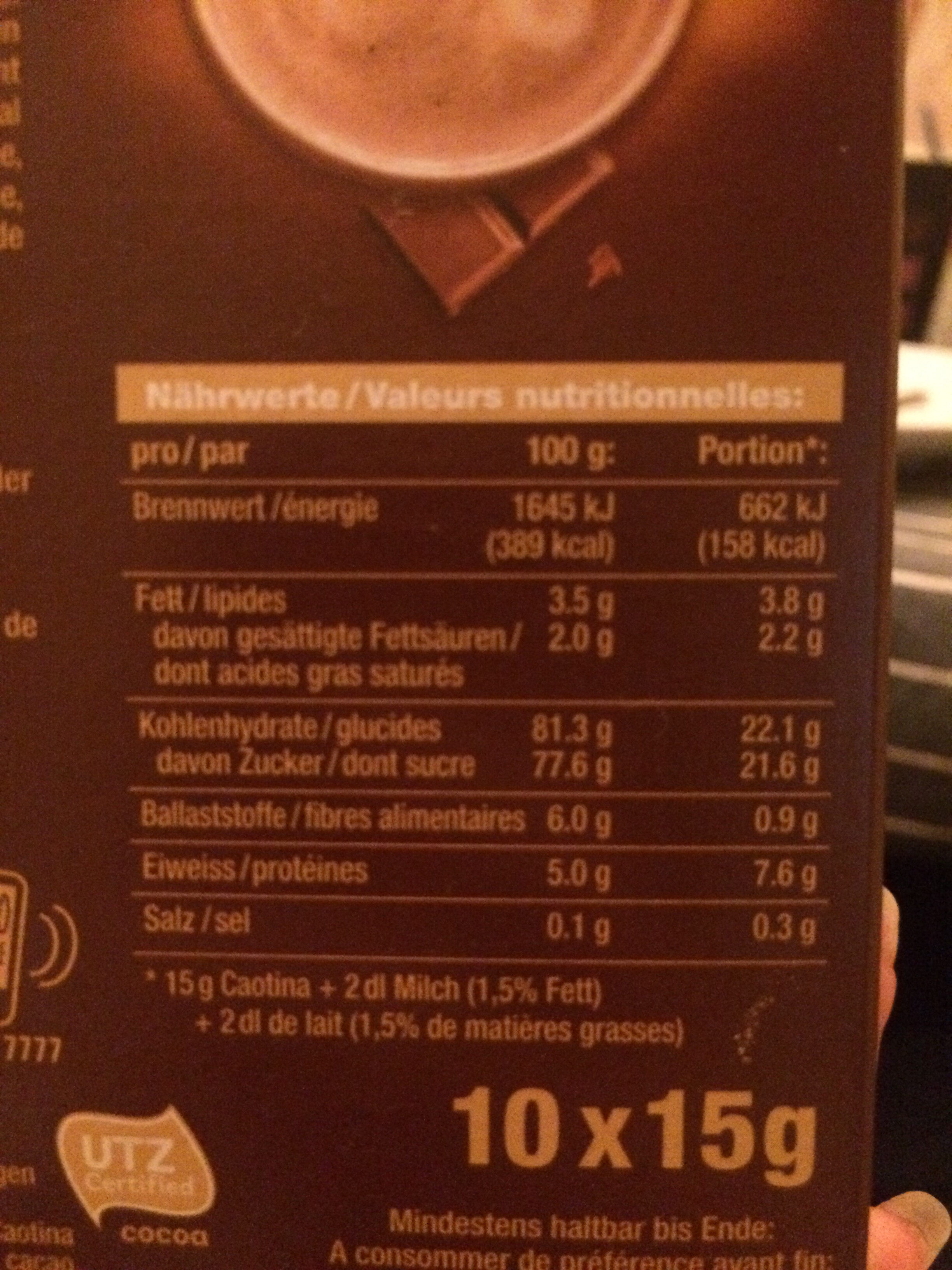 Caotina Surfin - Nutrition facts - fr