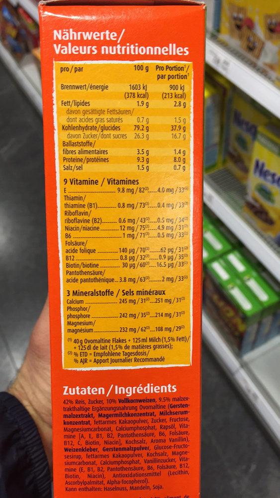 Ovomaltine flakes - Nutrition facts