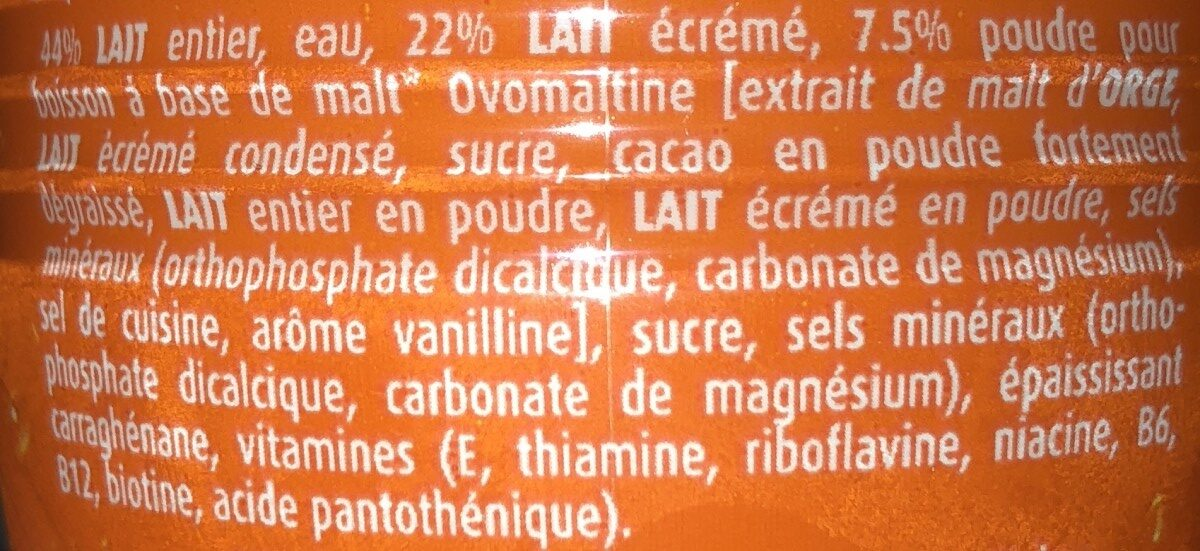Ovomaltine drink - Ingredients - fr