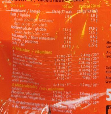 Ovo drink - Información nutricional