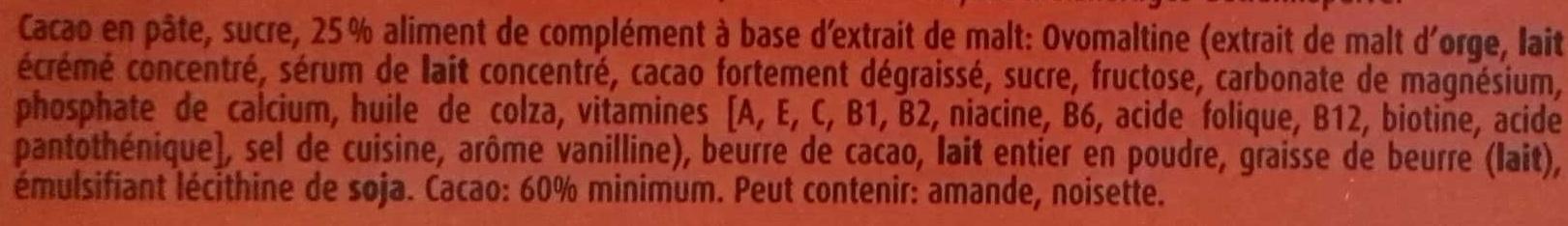 Chocolat Noir - Ingredienti - fr
