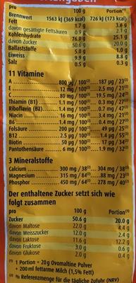 Ovomaltine - Valori nutrizionali - de