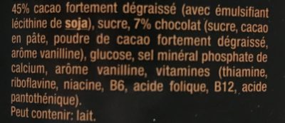Caotina noir - Ingrédients - fr
