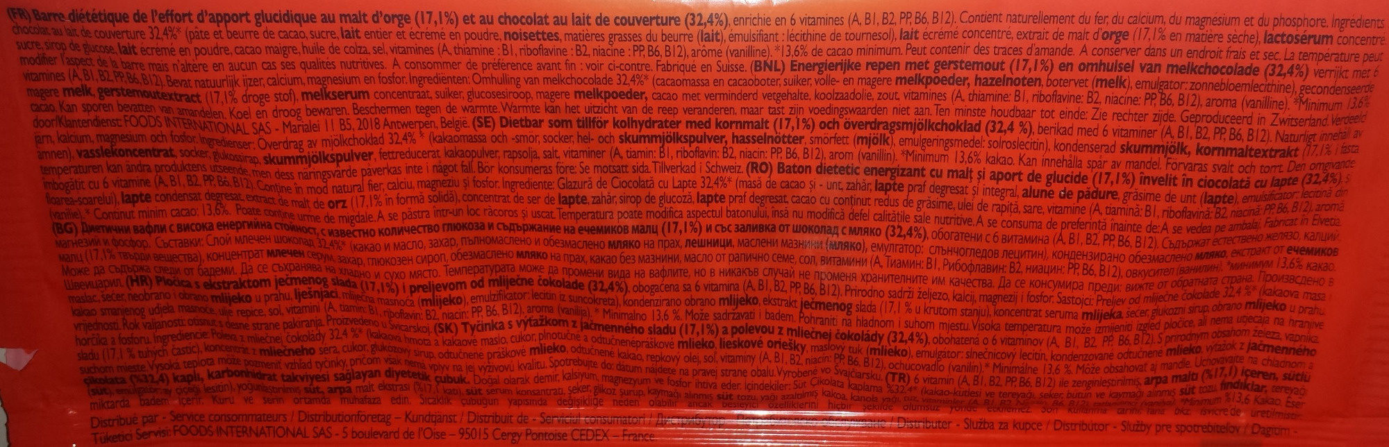 Ovomaltine Barres - Ingredients