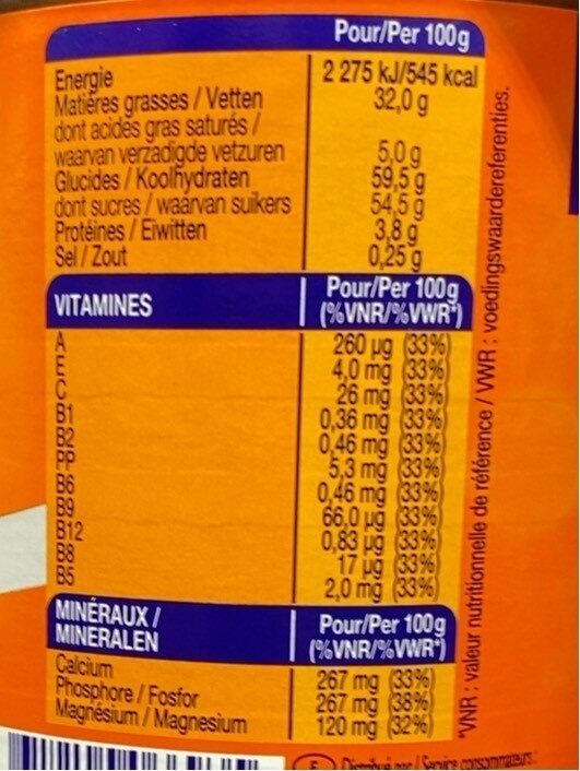 Ovomaltine crunchy - Valori nutrizionali - fr