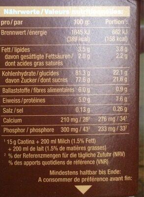 Caotina - Informazioni nutrizionali - fr