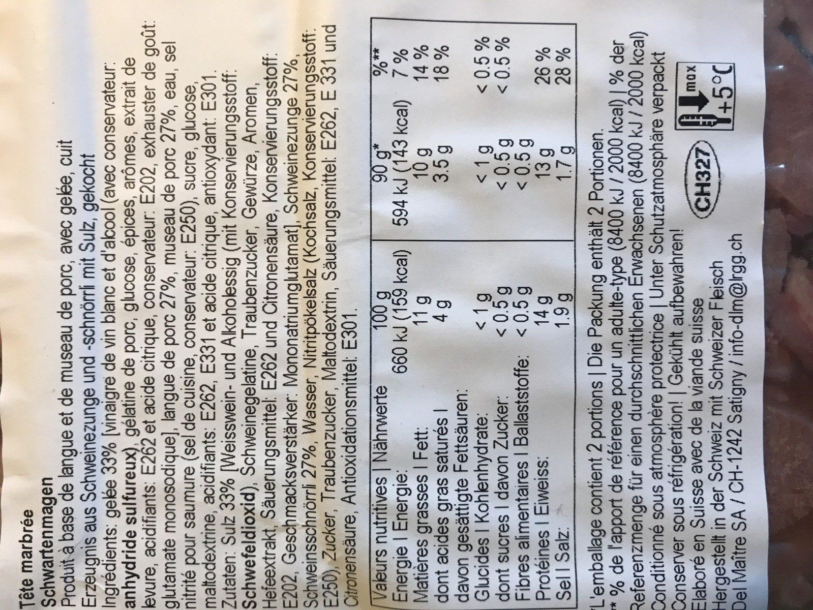 Tete marbrée - Ingrediënten - fr
