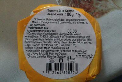Tomme à la creme - Informations nutritionnelles