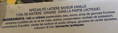Perle de lait vanille - Ingrédients
