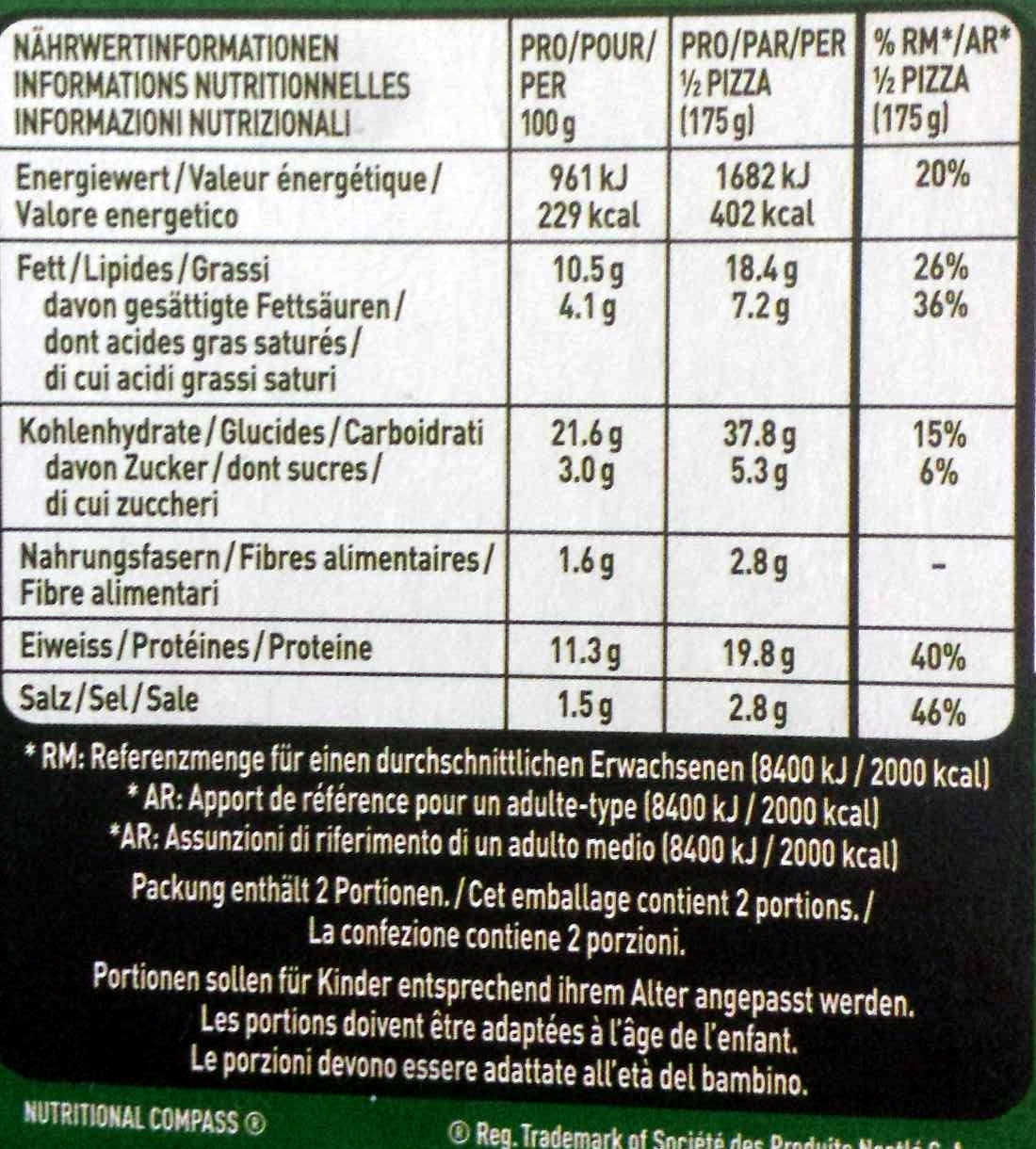 Pizza lafina - Informations nutritionnelles