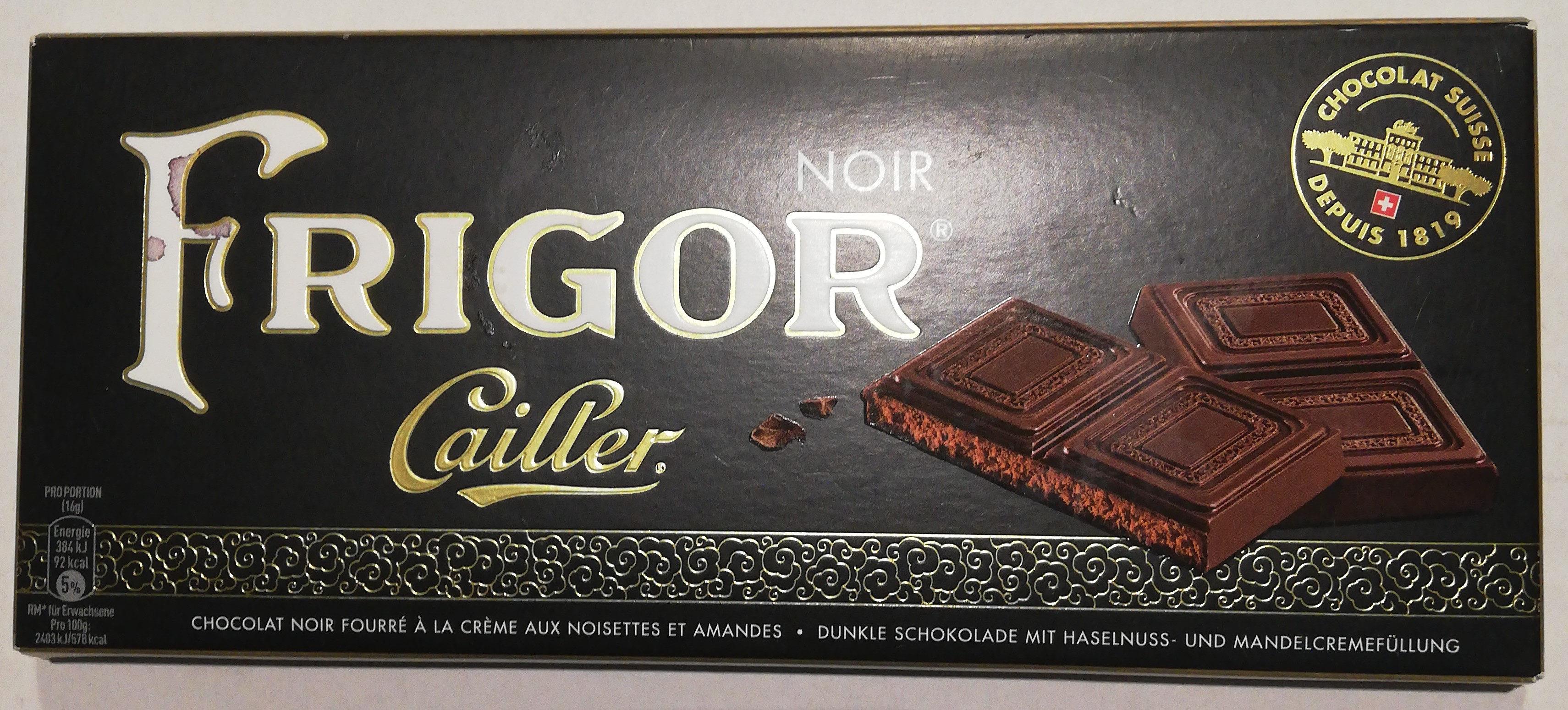 Of Switzerland FRIGOR NOIR CHOCOLAT NOIR FIN FOURRÉ À LA CRÈME DE NOISETTES ET D'AMANDES - Prodotto - fr