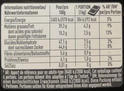 Of Switzerland FRIGOR NOIR CHOCOLAT NOIR FIN FOURRÉ À LA CRÈME DE NOISETTES ET D'AMANDES - Informazioni nutrizionali - fr