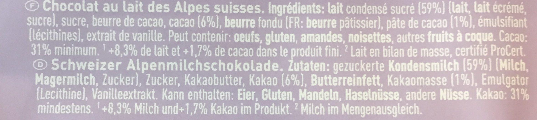 Chocolat au lait des Alpes suisses - Ingredienti - fr