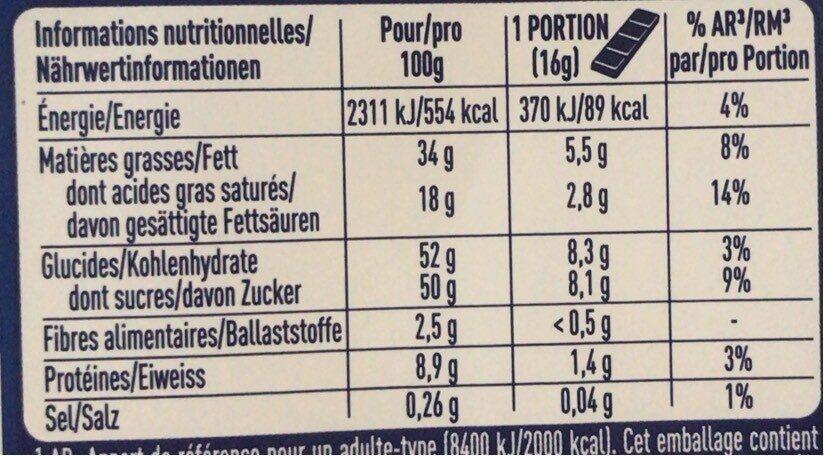 Chocolat au lait aux amandes et miel - Valori nutrizionali - fr
