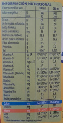 Leche y Cereales Con Galleta Maria - Nutrition facts