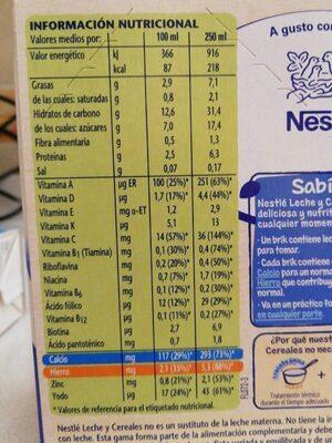 Llet Nestle Cereals Mel - Información nutricional