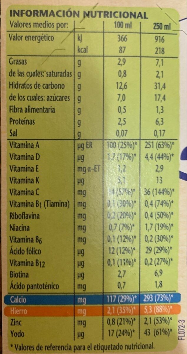 Llet Nestle Cereals Mel - Información nutricional - fr