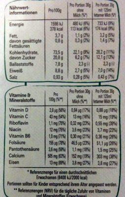 Cheerios Multi - Nährwertangaben - de
