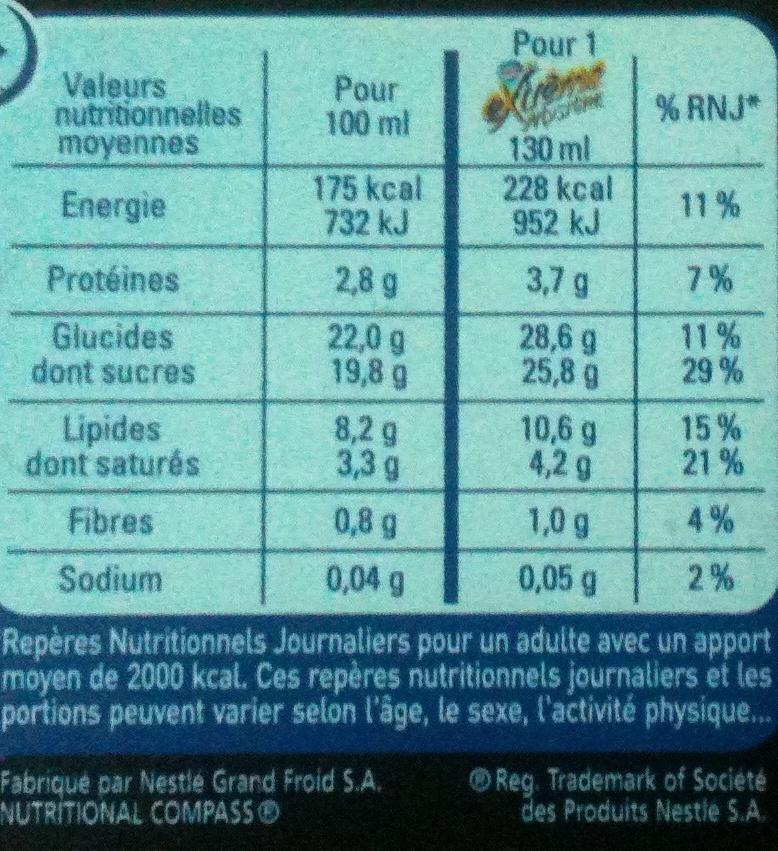 Mystère - Vanille Cœur Meringue - Informations nutritionnelles